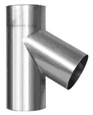 Nerezová komínová vložka, ktorú používame pri vložkovaní komína. Na obrázku je nerezová rúra T-kus 60 stupňový.