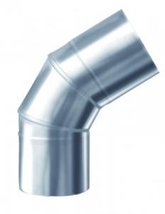Nerezová komínová vložka, ktorú používame pri vložkovaní komínov. Na obrázku sa nachádza koleno 45 stupňové.